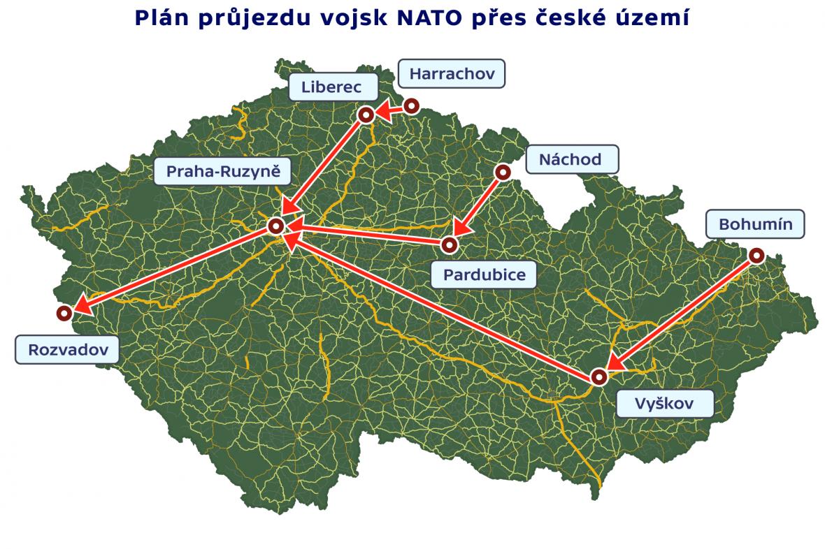 Plán průjezdu vojsk NATO přes české území