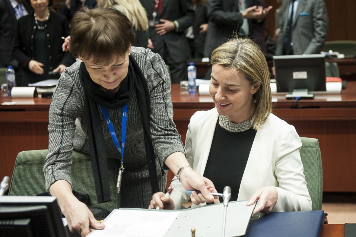 Federica Mogheriniová na zasedání unijních ministrů zahraničí