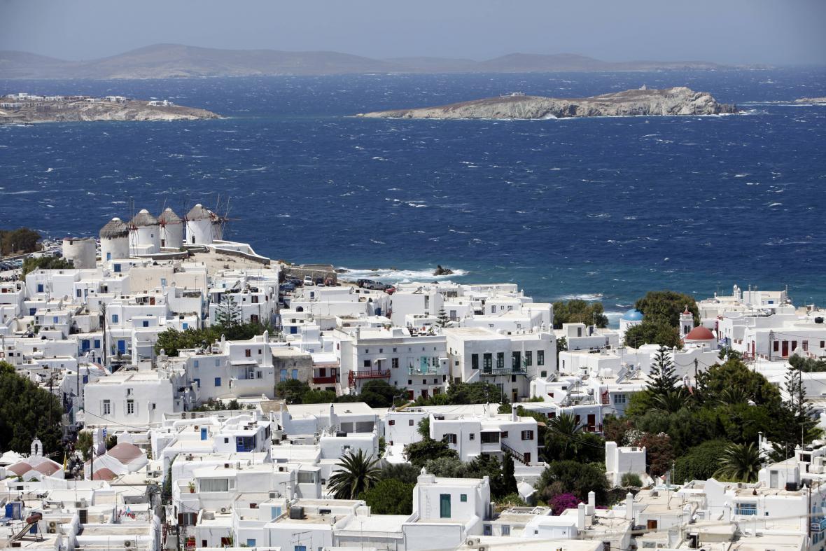 Modrobílý řecký Mykonos