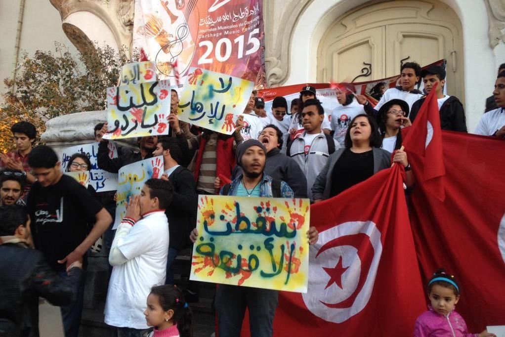 Shromáždění v centru Tunisu