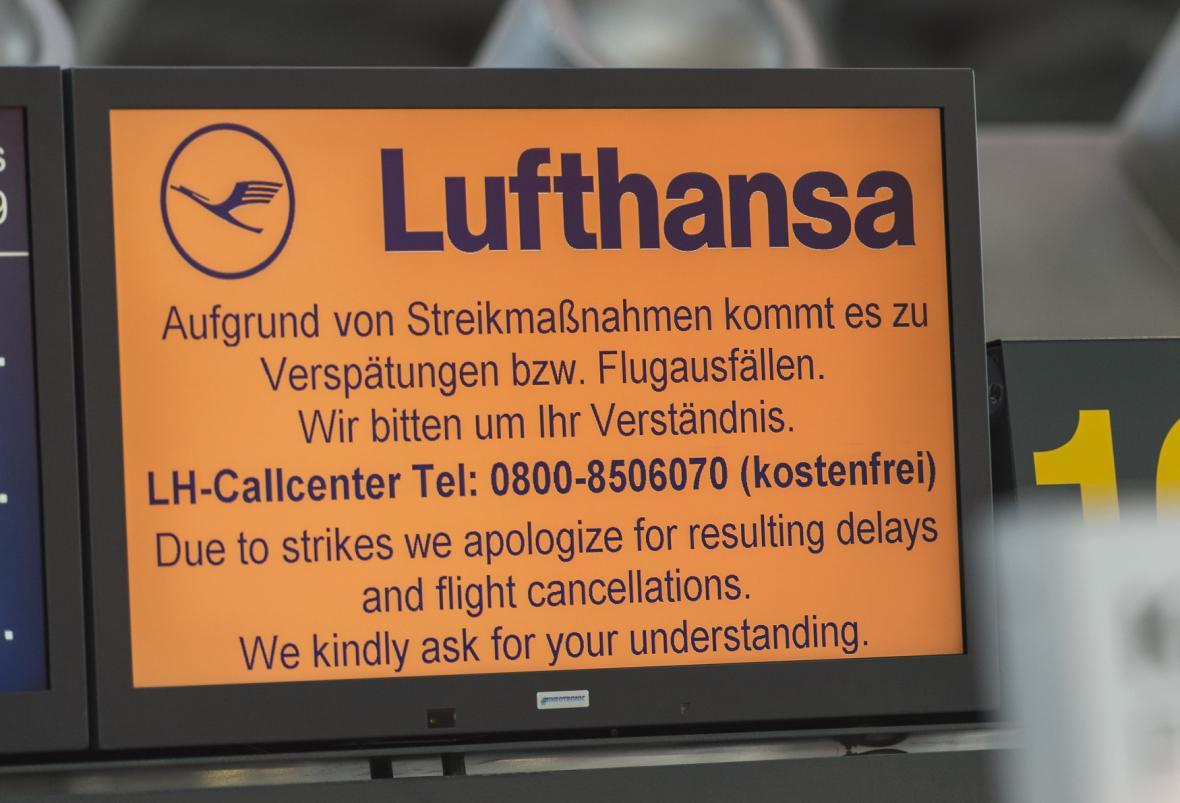 Stávka začala včera zrušením vnitroněmeckých a evropských letů