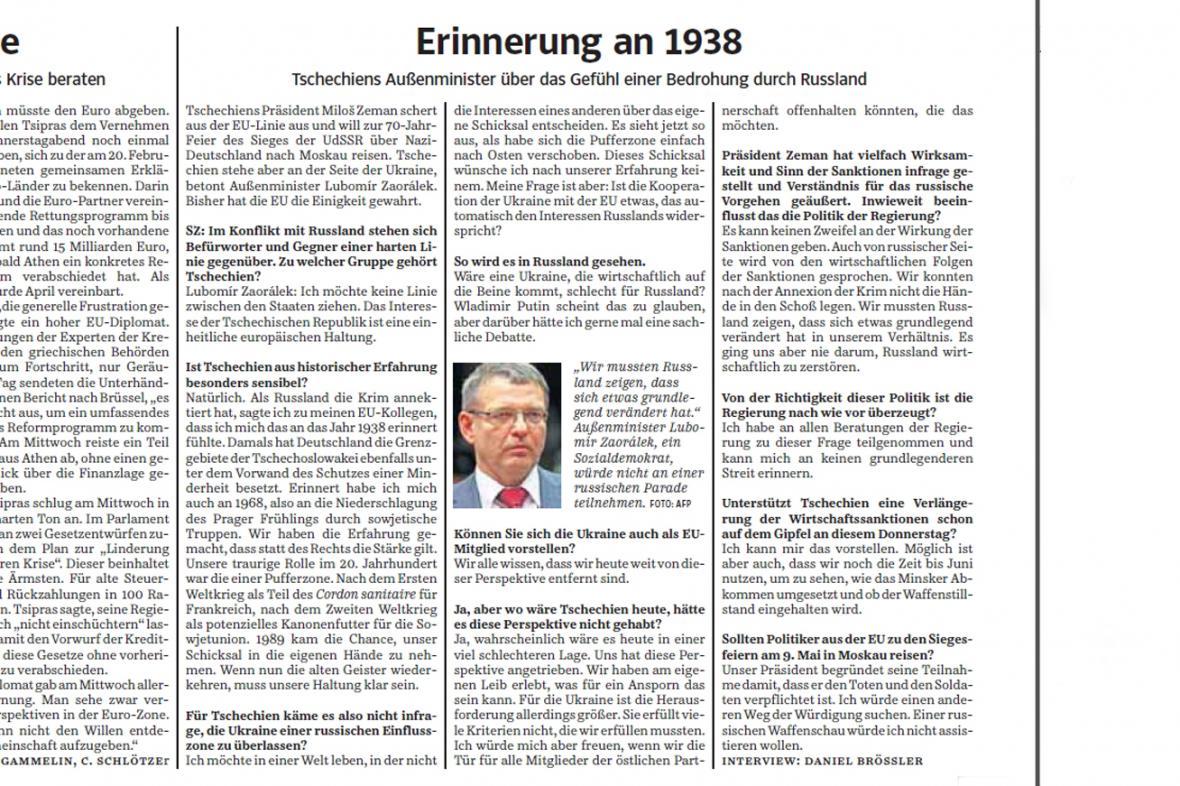 Rozhovor Lubomíra Zaorálka pro Süddeutsche Zeitung