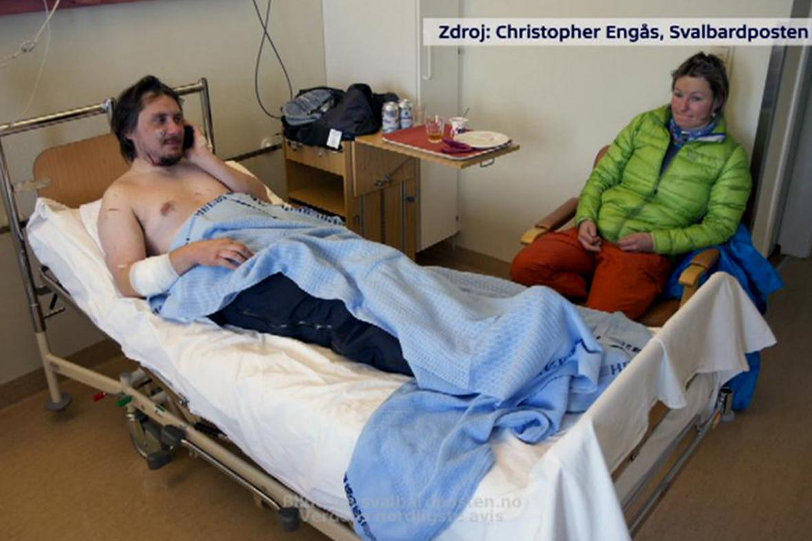 Jakub Moravec v nemocnici v Longyearbyenu