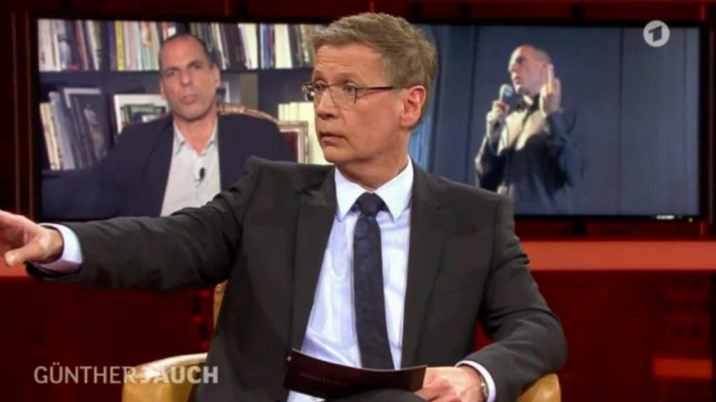 Janis Varufakis v diskusním pořadu Günthera Jaucha