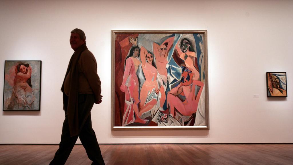 Picassovy Slečny z Avignonu (uprostřed) v Muzeu moderního umění, New York