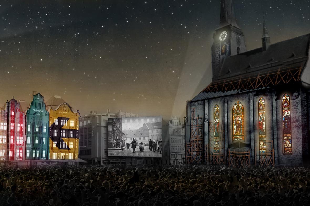 Vizualizace videomappingu na zahájení Plzně městem kultury
