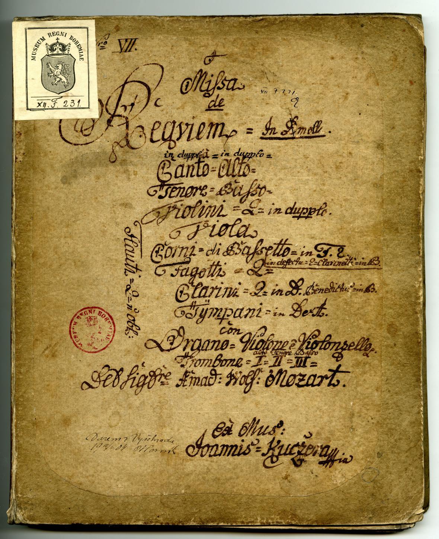 Titulní strana Missa de Requiem in d moll od Mozarta