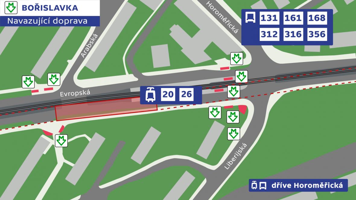 Bořislavka – navazující doprava
