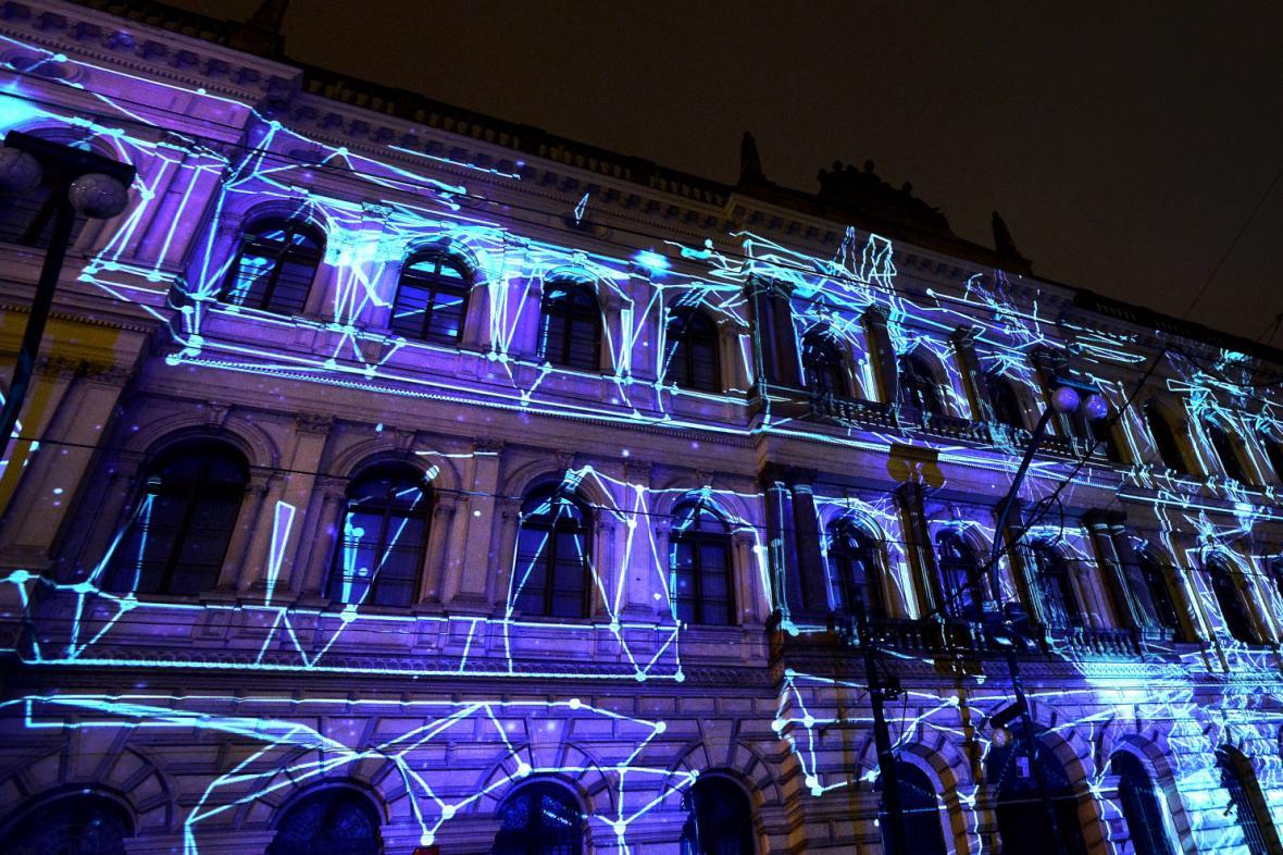 Videomapping na budově Akademie věd