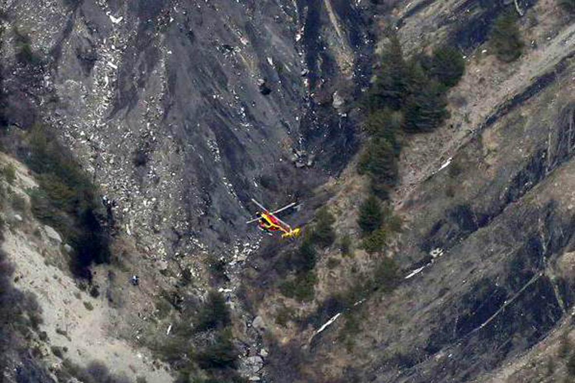 Pátrání po troskách letadla Germanwings