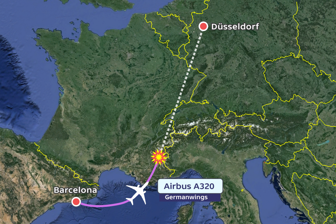 Pád letadla ve francozských alpách