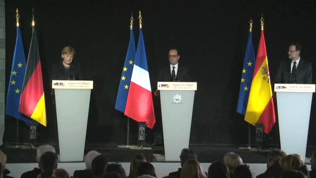 Představitelé Německa, Francie a Španělska přijeli na místo neštěstí