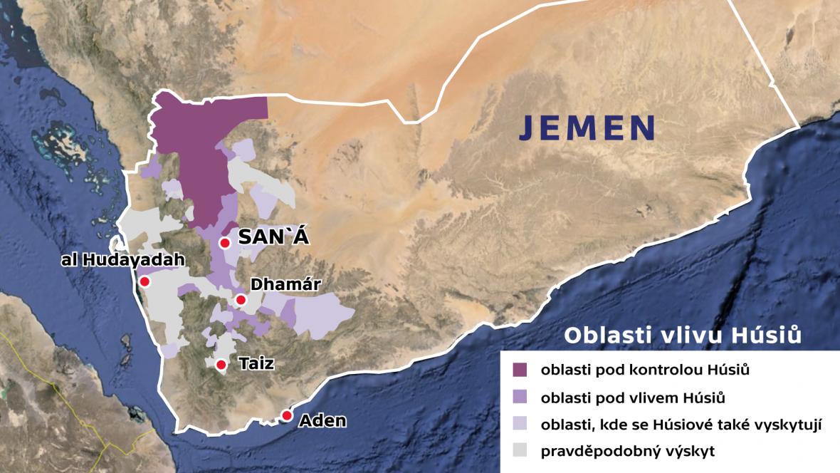 Jemen –oblast vlivu Húsiů