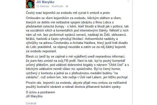 Omluva Jiřího Maryška