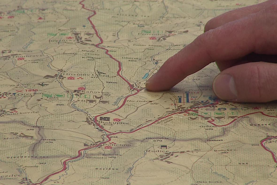 Mapa tzv. Baťovy magistrály
