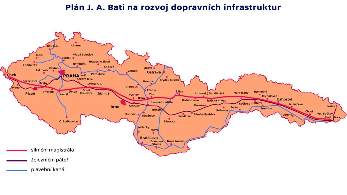 Plán J. A. Bati na rozvoj dopravních infrastruktur