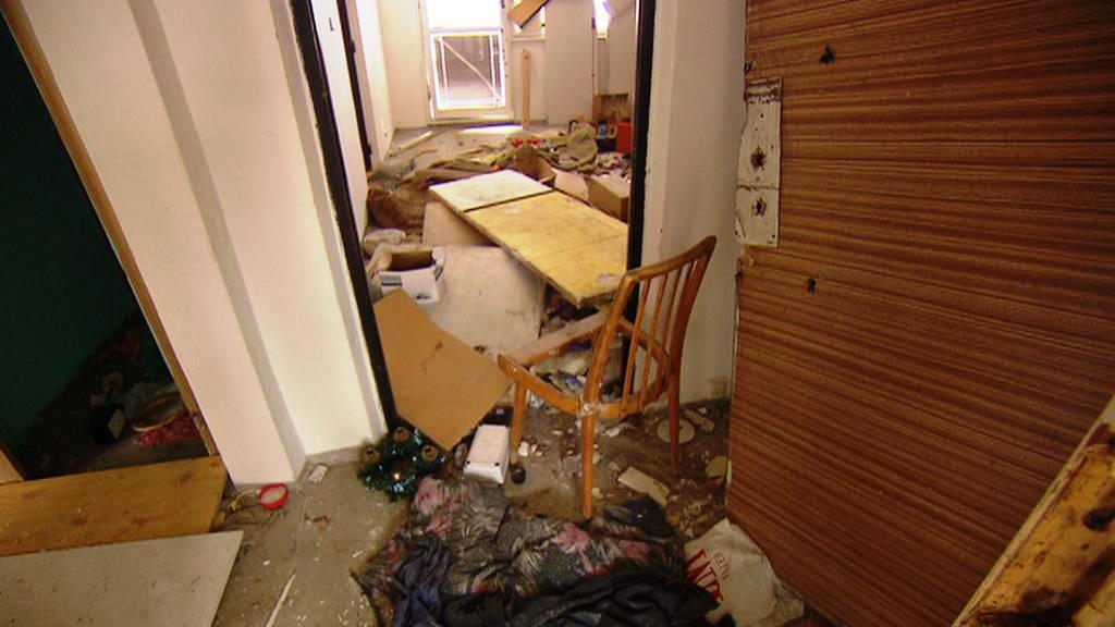 Zničený byt na litvínovském sídlišti Janov