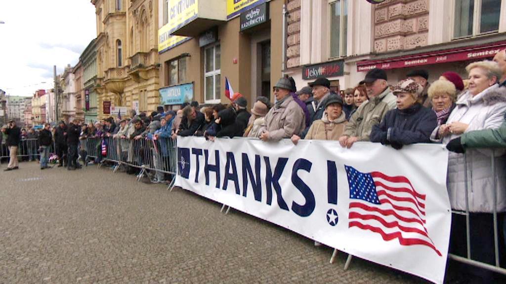 Vítání amerických dragounů v Plzni