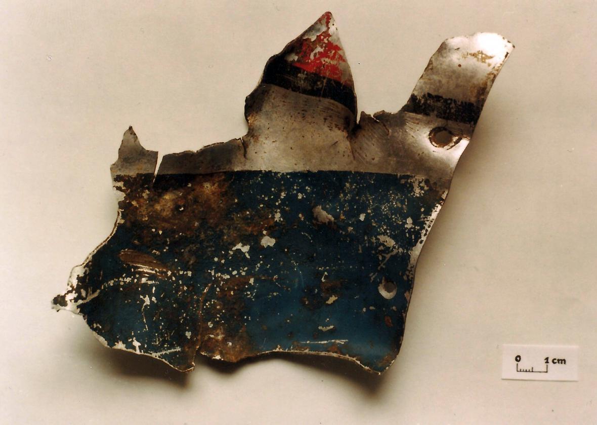 Nalezený úlomek z Banksova P-47D Thunderbolt