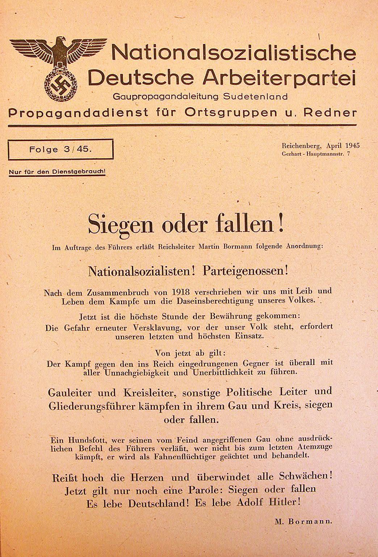 Vyhrát nebo padnout! Výzva členům NSDAP, fanatismus najaře 1945 dostoupal vrcholu