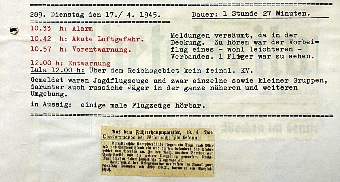 Zápis o spojenecké letecké aktivitě 17. dubna 1945