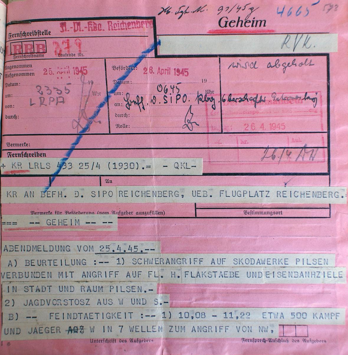 Dálnopis o těžkém náletu na Škodovy závody v Plzni 25. dubna 1945