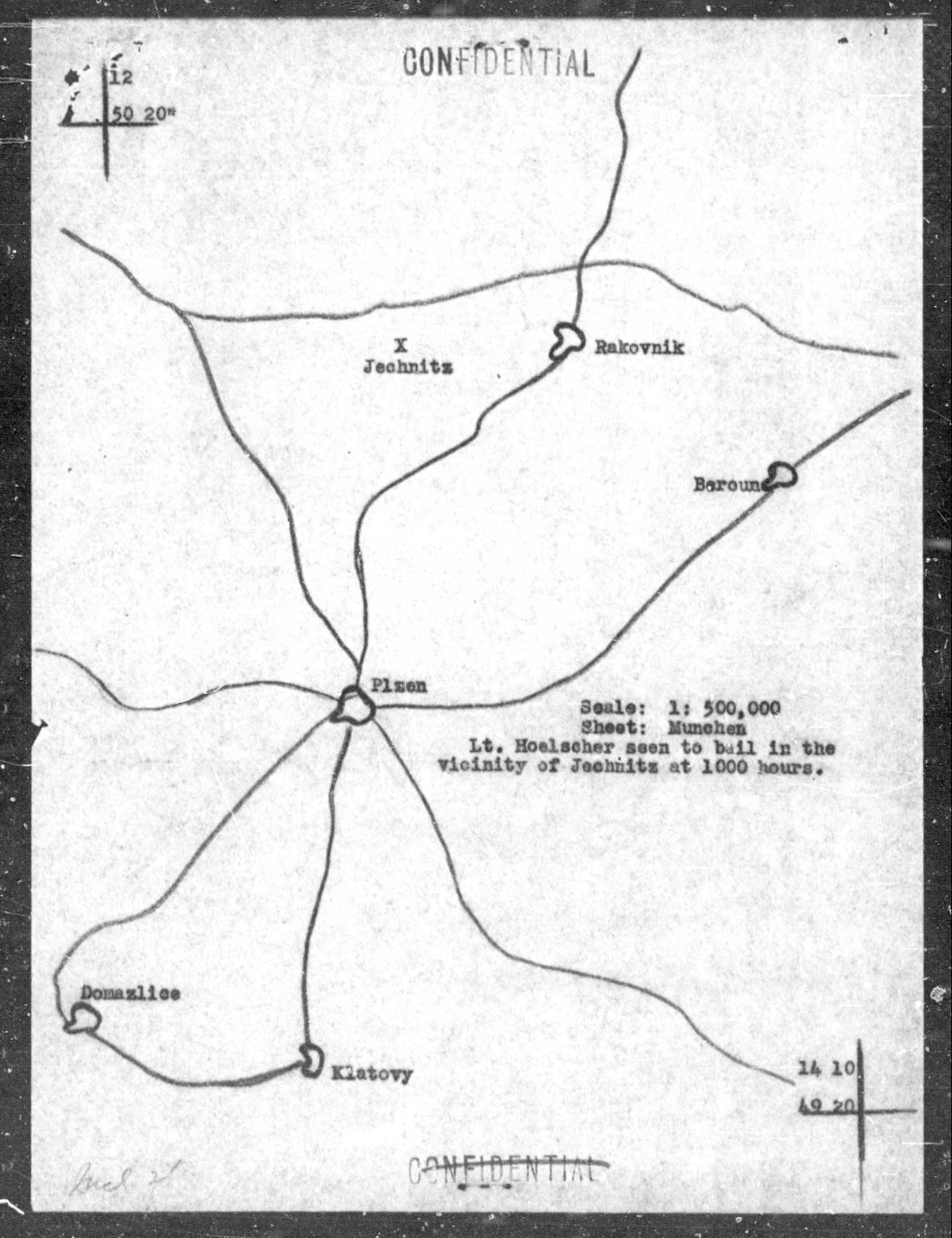 Mapa se zakresleným dopadem Hoelscherova letounu P-51D Mustang