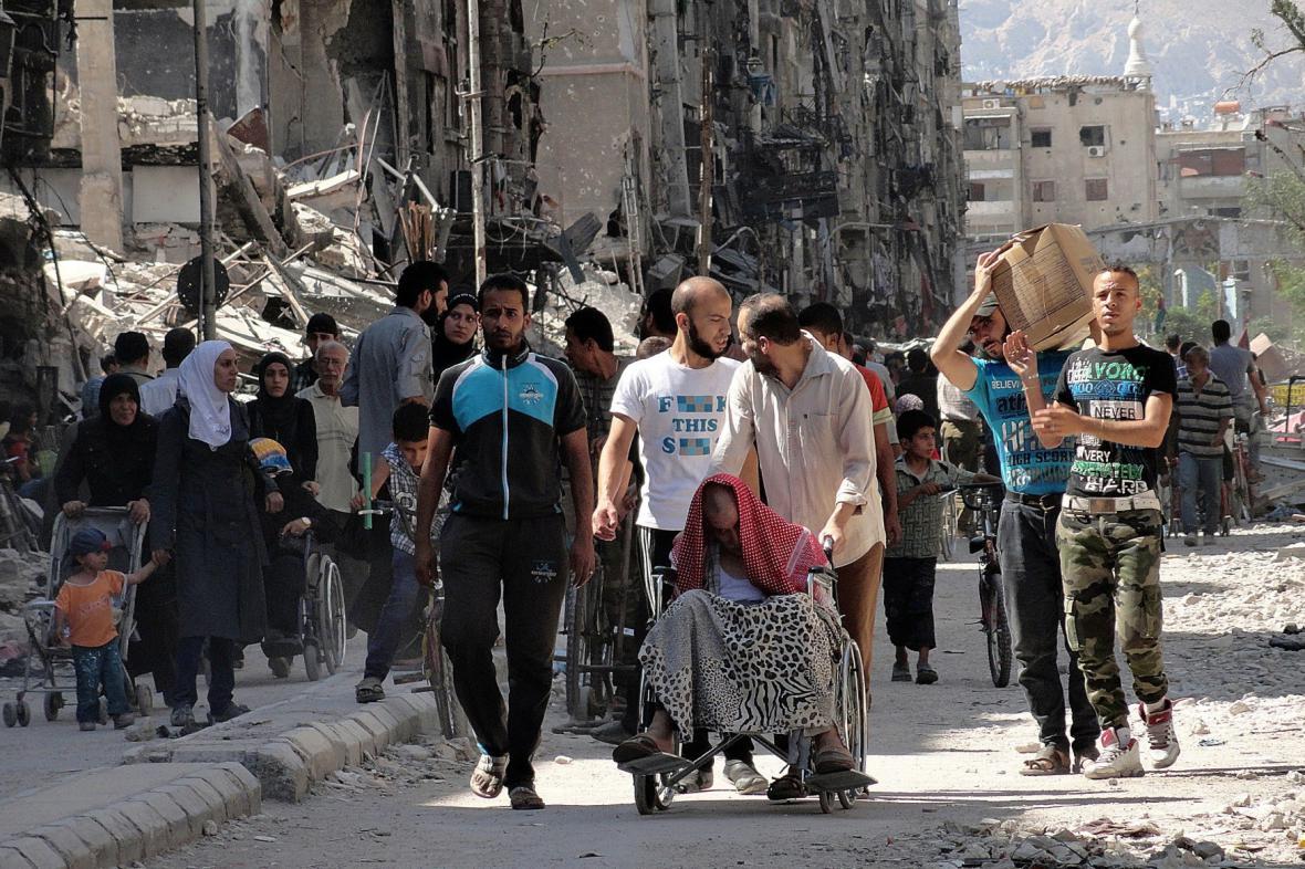 Palestinský uprchlícký tábor v Damašku
