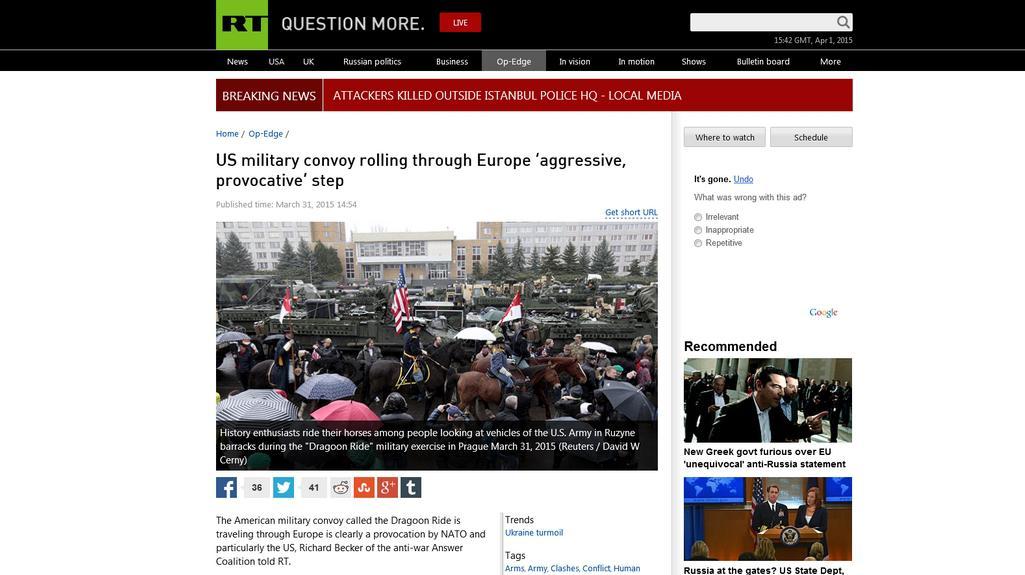 Web ruské televize RT