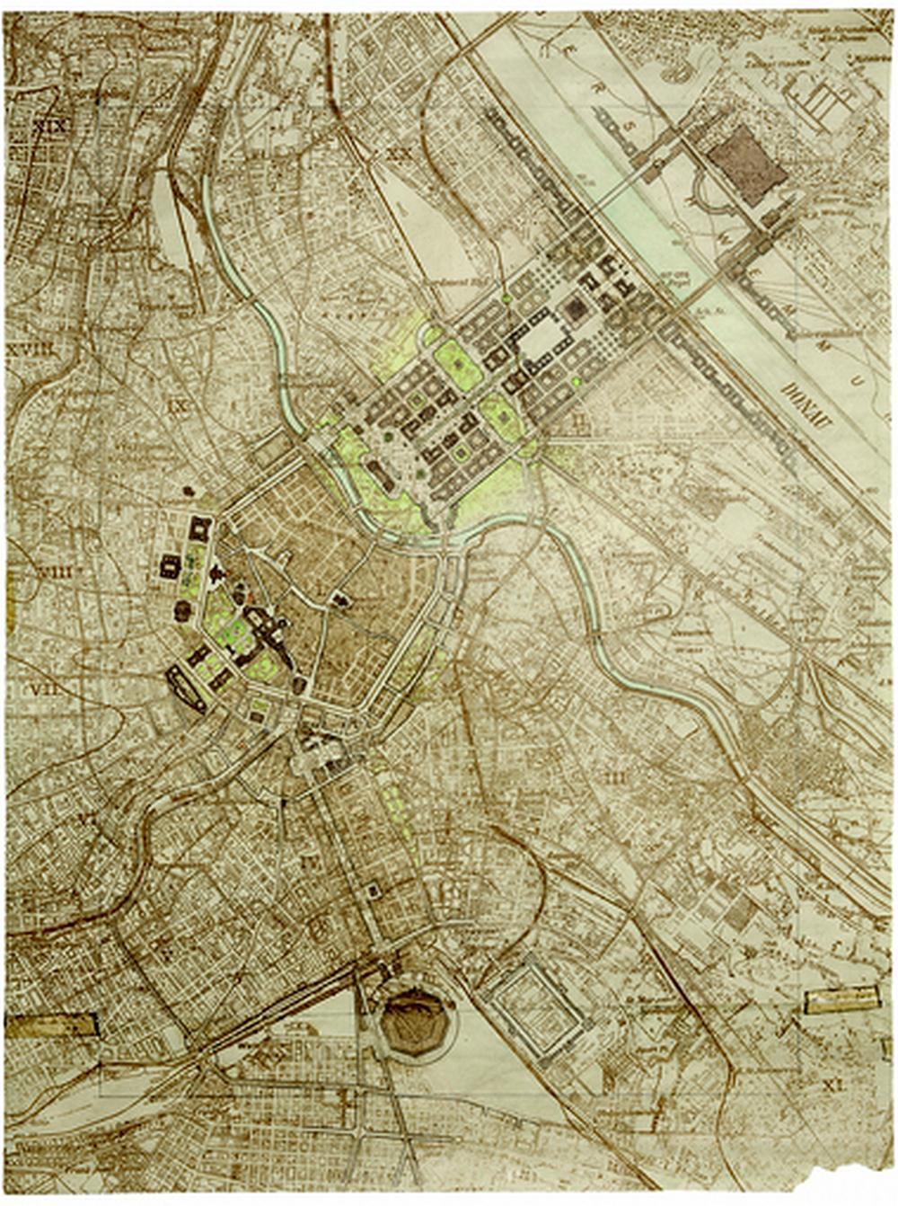 Hitlerova prezentace přestavby severní části centra Vídně, 1941