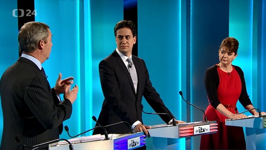 Předvolební debata televize iTV (zleva Nigel Farage, Ed Miliband a Leanne Woodová)