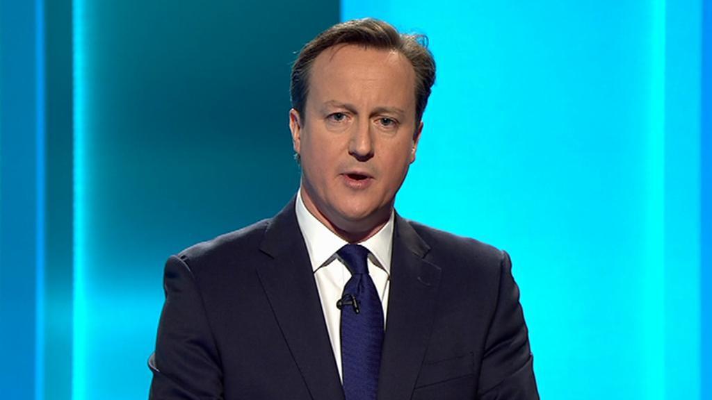 David Cameron (Konzervativní strana) v předvolební debatě s lídry stran