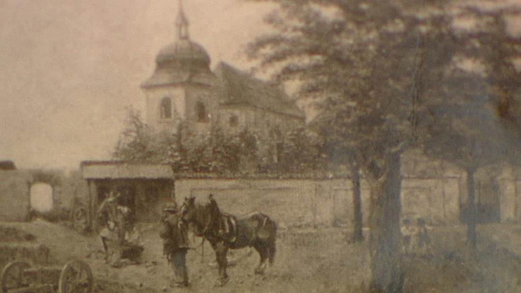 Kostel sv. Pankráce na dobové fotografii