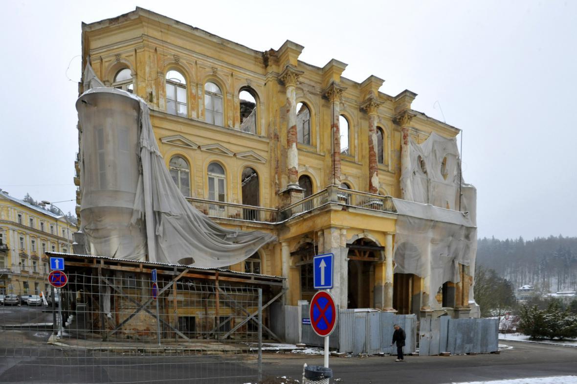 Bývalý hotel Rozkvět v Mariánských Lázních - stav z 22. 1. 2015