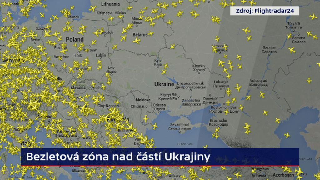 Bezletová zóna nad částí Ukrajiny