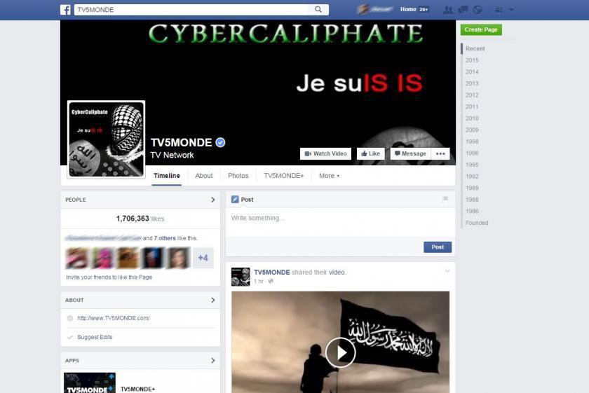 Facebook stanice TV5MONDE v době napadení hackery Islámského státu