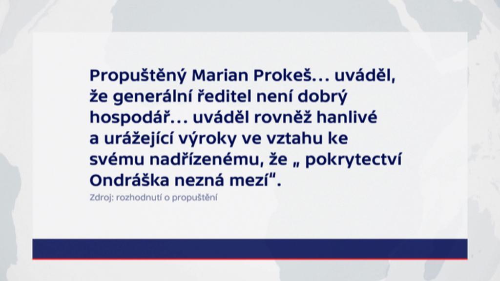 Zdůvodnění propuštění Mariana Prokeše