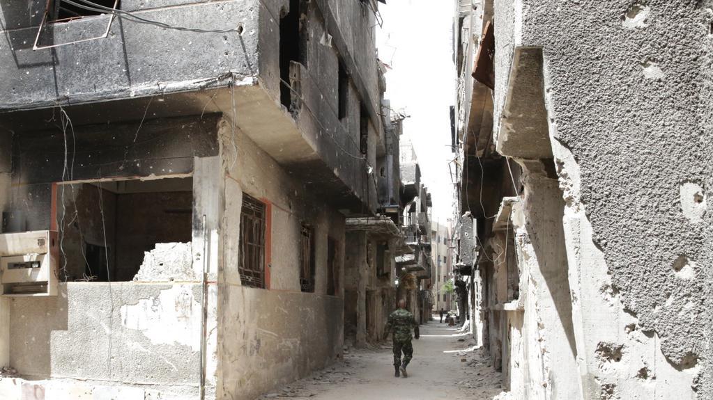 Ruiny Jarmúku po náletech a rozsáhlé evakuaci uprchlíků