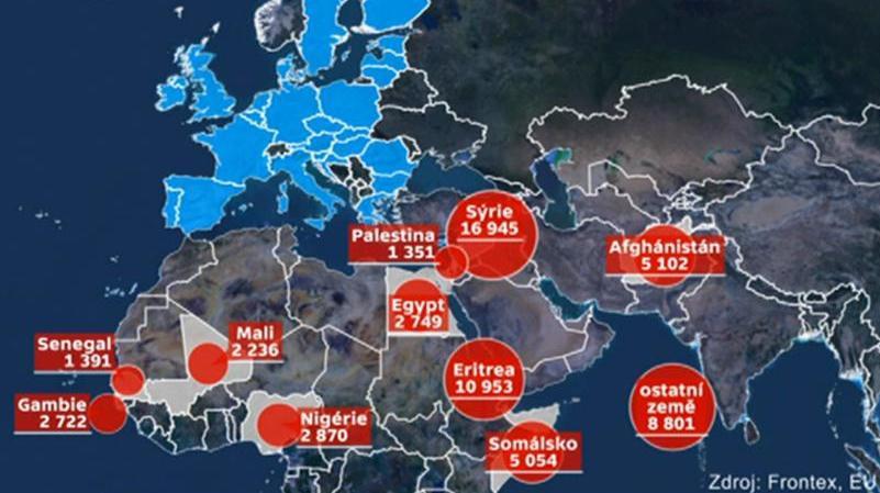 Počet uprchlíků plujících do Evropy na lodích