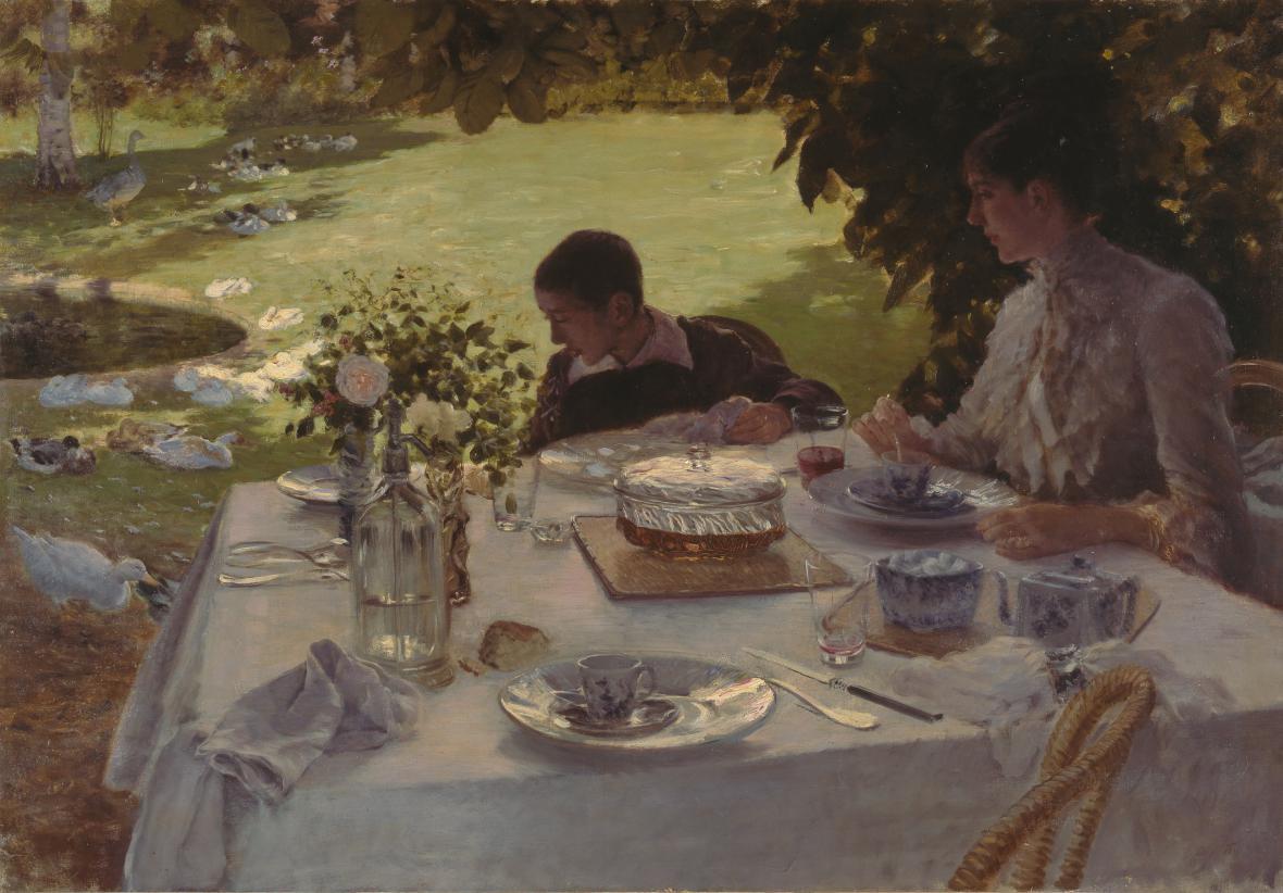 Giuseppe De Nittis / Snídaně v zahradě, 1884