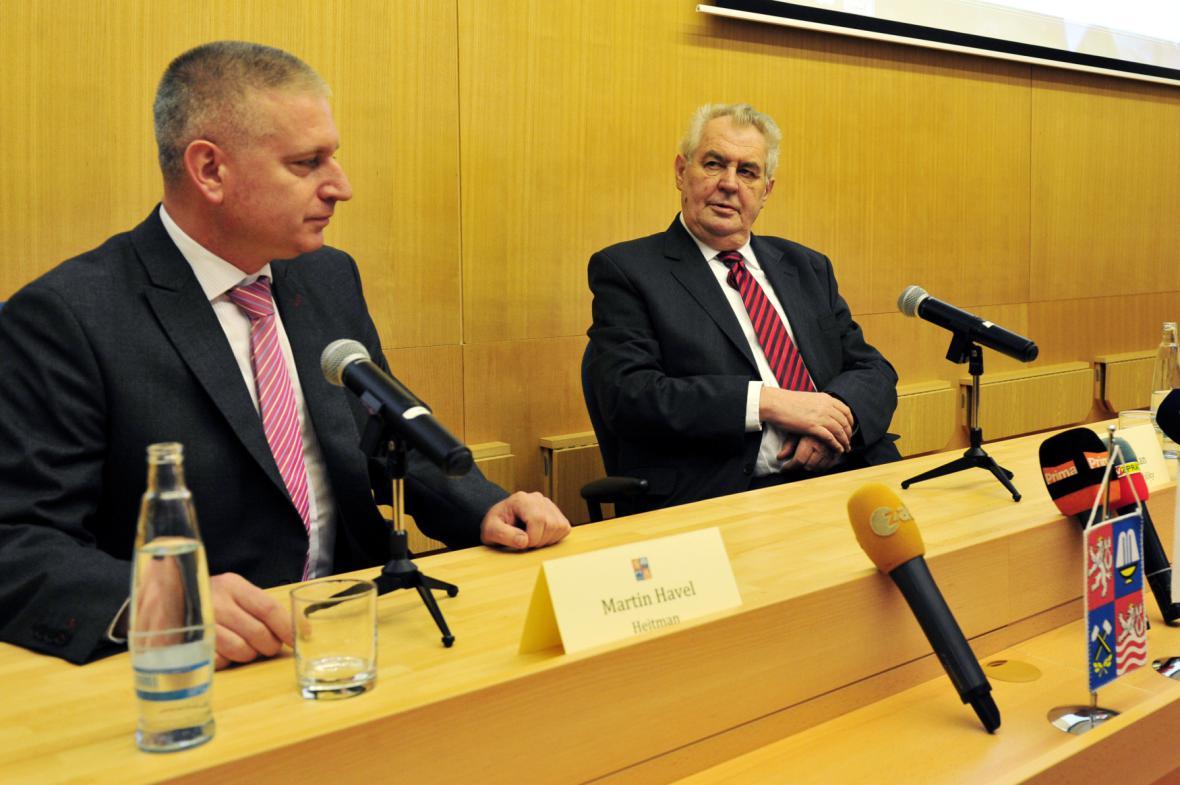 Prezident Miloš Zeman s hejtmanem Martinem Havlem