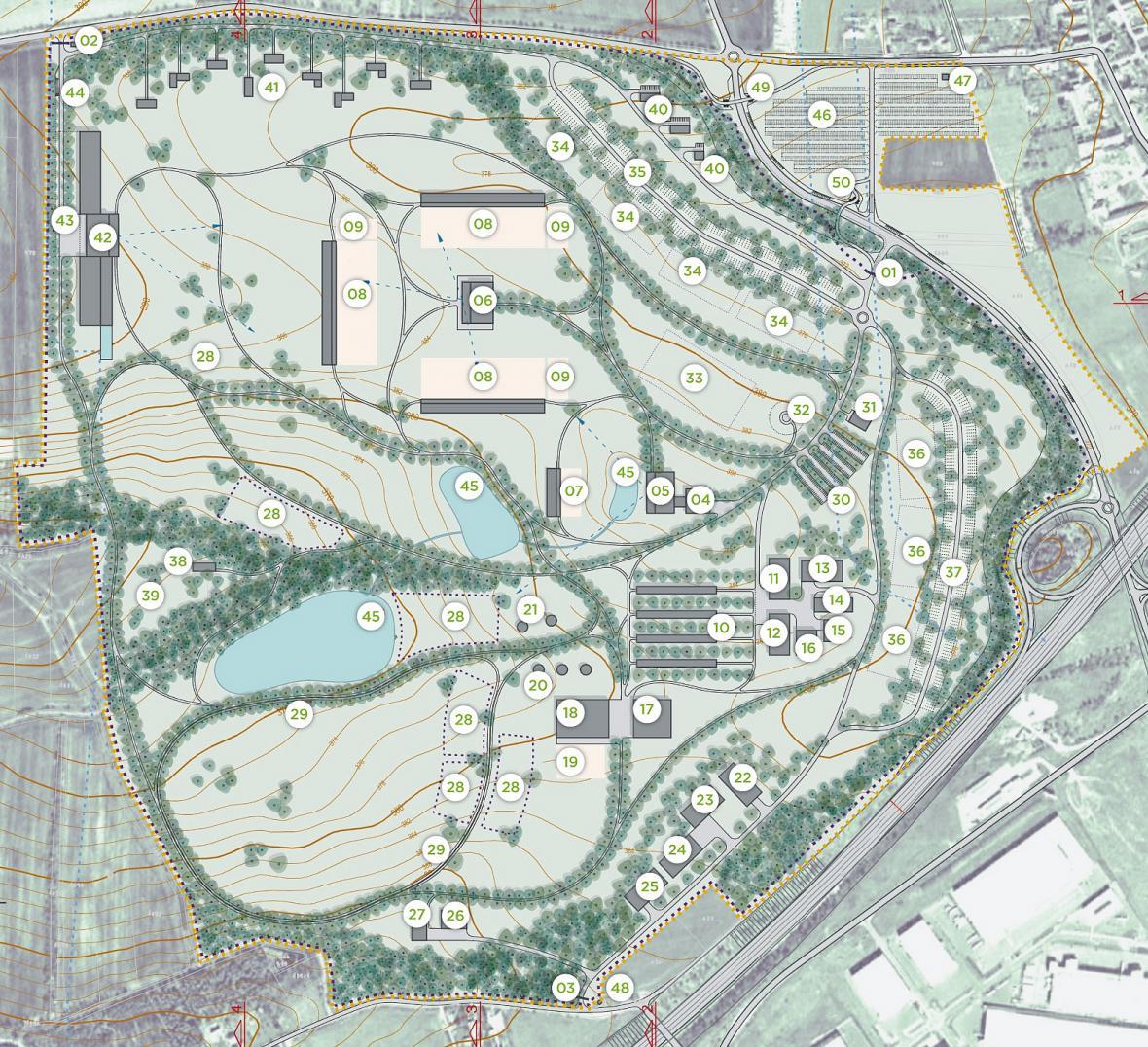Mapa budoucího areálu
