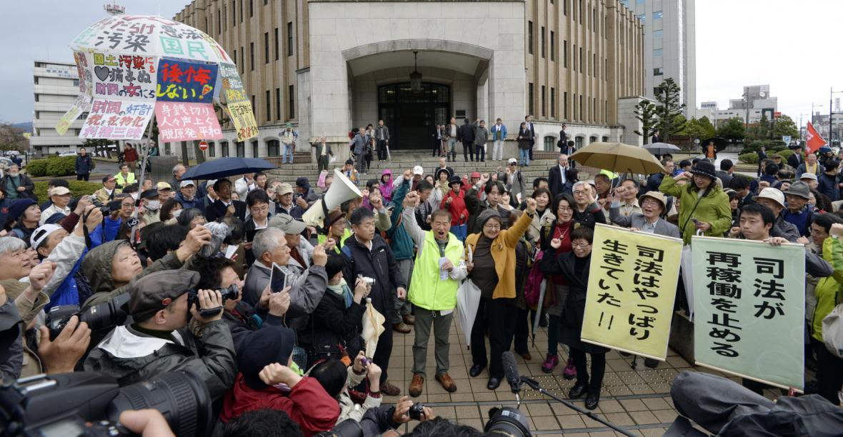 Protest proti obnovení reaktorů v prefektuře Fukuj