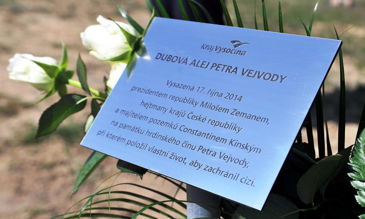 Pamětní deska na hrázi Veselského rybníka