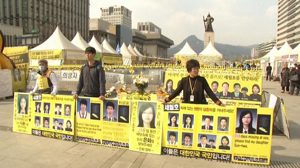 Protest pozůstalých po obětech z potopeného trajektu Sewol
