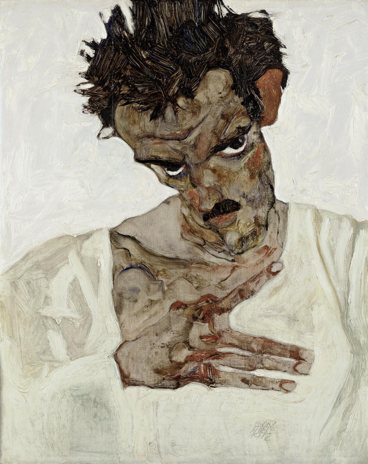 Egon Schiele / Autoportrét se sklopenou hlavou, 1912