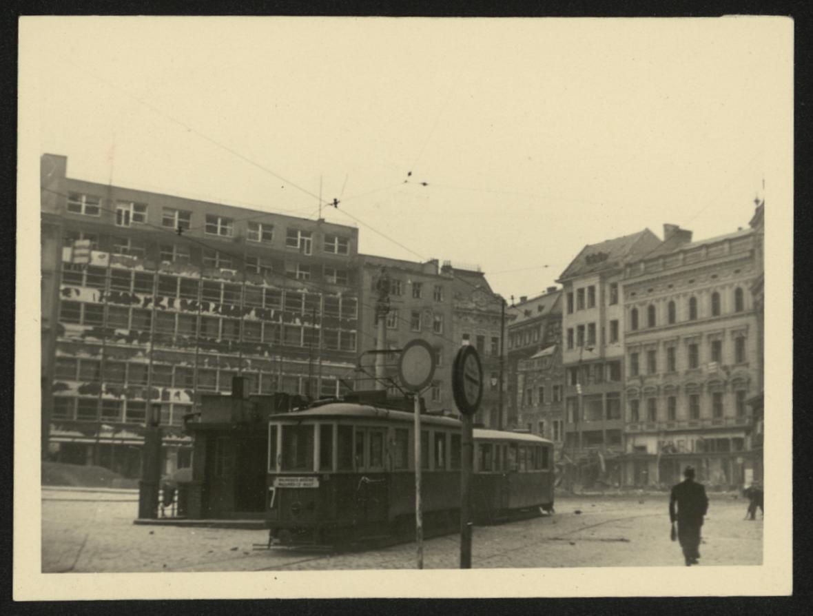Brno po bombardování (náměstí Svobody)