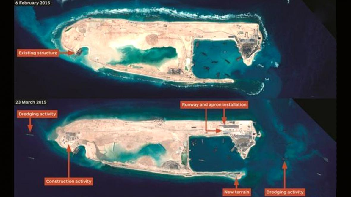 Satelitní snímky dokazují pokračující práce na Spratlyho ostrovech