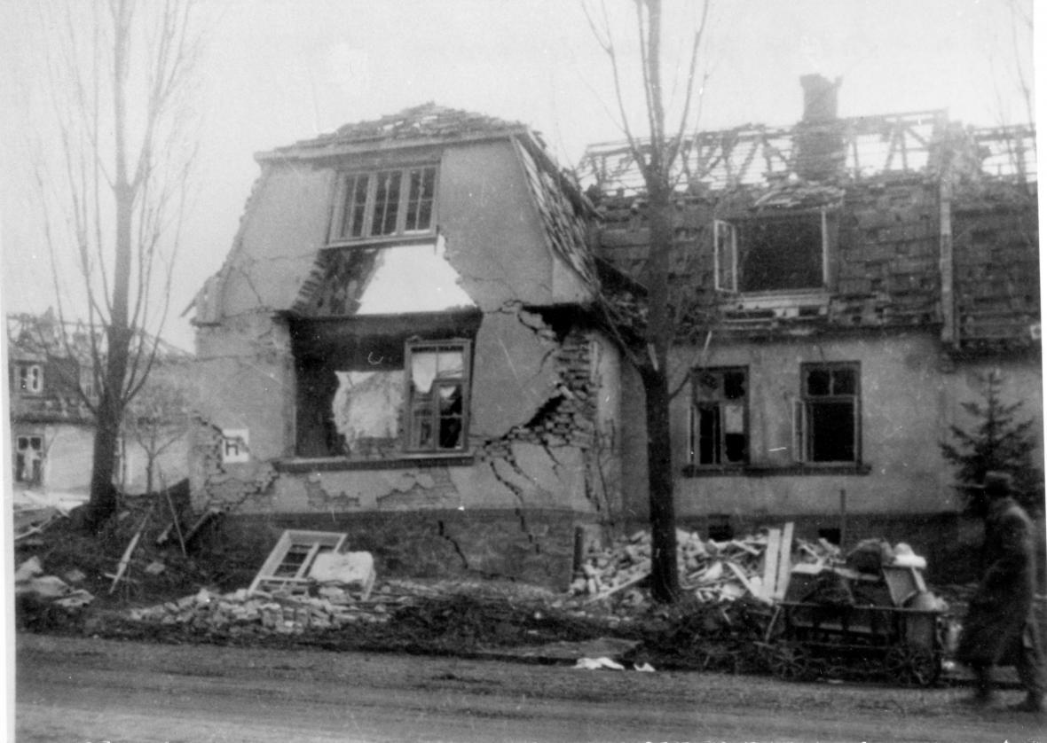 Trosky po bombardování Zlína (1944)