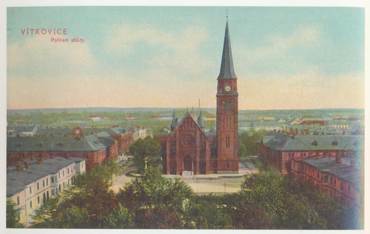 Kostel ve Vítkovicích na dobové pohlednici